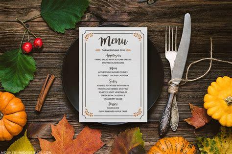 printable thanksgiving menu mountainmodernlifecom