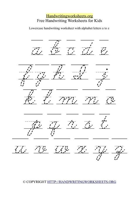 Free Lowercase Letter Worksheets  Free Cursive Handwriting Worksheet With Lowercase Small