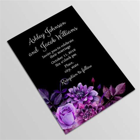 black  purple wedding invitation template gothic