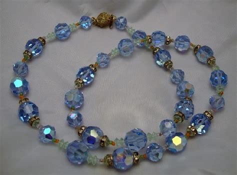 Vintage Costume Jewelry Vendome Blue Crystal Necklace