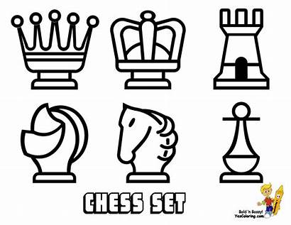 Chess Coloring Board Yescoloring Pieces Easy Sheets