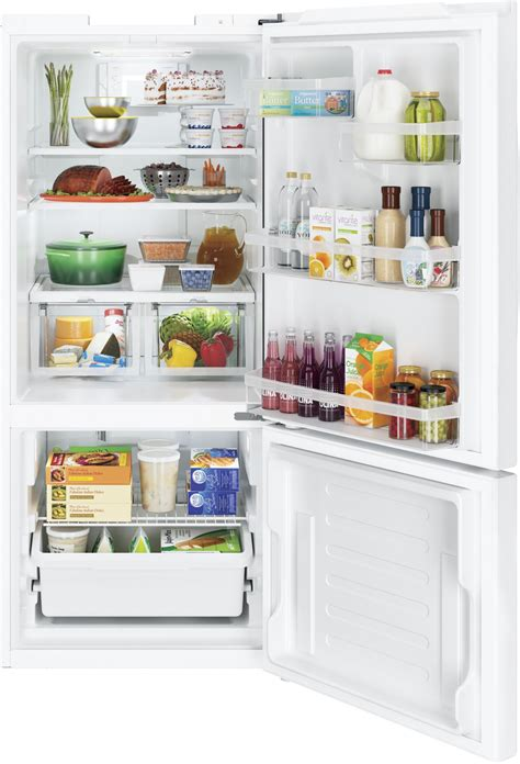 gbedgkww ge  bottom freezer refrigerator  cu ft white