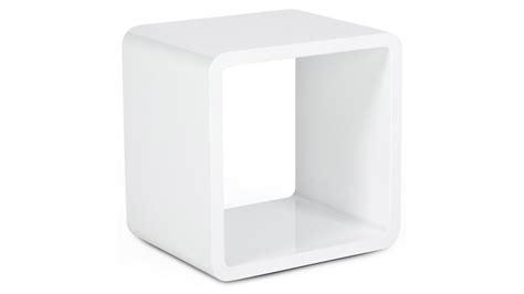 bout de canapé blanc laqué cub cube de rangement carré blanc empilable