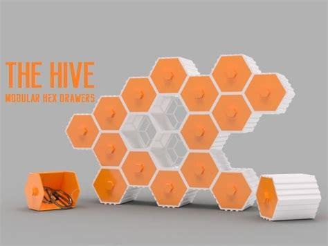 hive modular hex drawers  od thingiverse