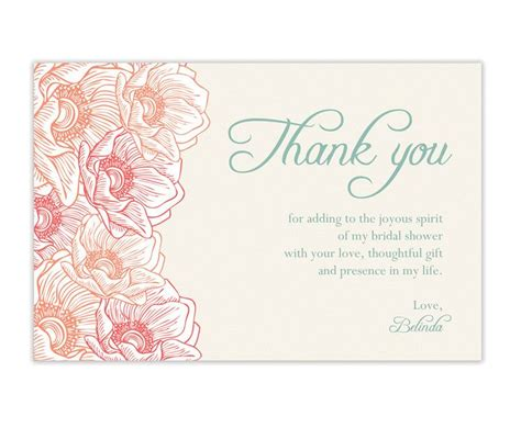 thank you card bridal shower template beautiful bridal shower thank you card thank you card