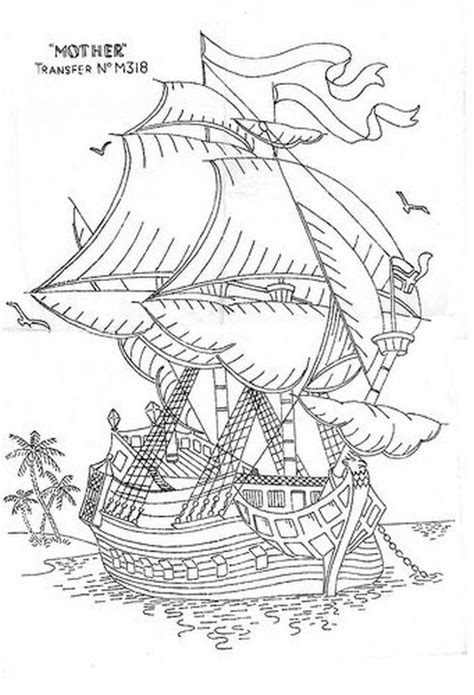 realistic traditional sailing ship difficult coloring