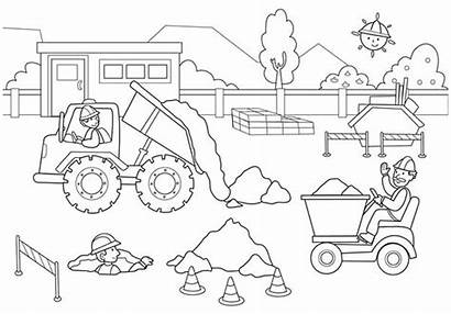 Coloring Construction Pages Worker Truck Dump Workers