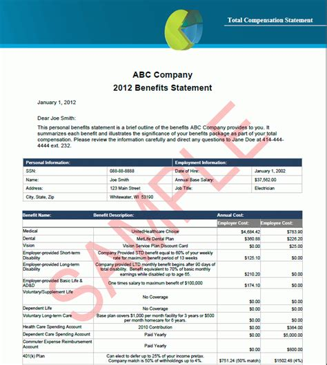 employee benefits package template total compensation statement template best template idea