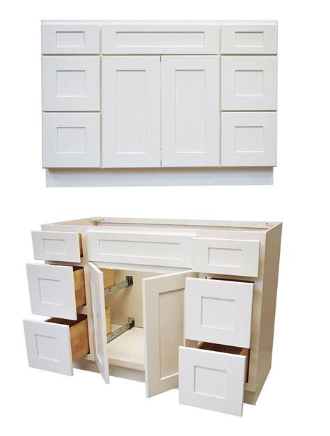 elegant white shaker  vanity  drawers cabinets