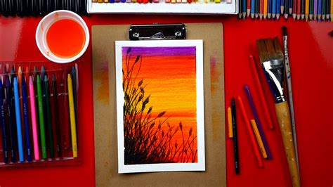 watercolor pencils  paint  beautiful sunset