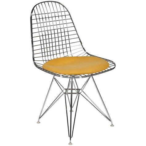 wire side chair dkr with seat cushion by charles and