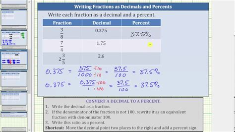 Convert A Fractions To Decimals And Decimals To Percents