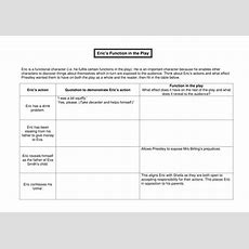 Eric Birling Worksheet  An Inspector Calls By Tiger Bear  Teaching Resources Tes