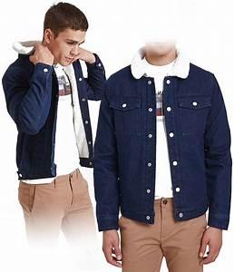Veste Homme Col Mouton : veste en jean bleu pour homme col fourr effet mouton jules coup de coeur mode ~ Dallasstarsshop.com Idées de Décoration