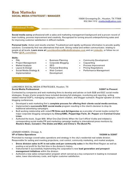 Resume Format For Media by Social Media Marketing Resume Sle Sle Resumes