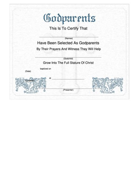 godparents certificate template cherub printable