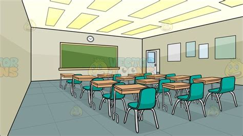 Inside A High School Classroom Background Cartoon Clipart
