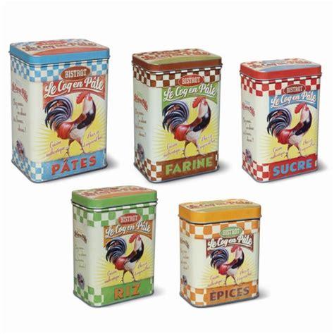 boite metal cuisine set de 5 boites métal coq natives la gamme accessoires de cuisine