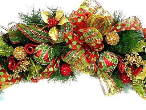mantel garland christmas centerpiece swag lux custom red