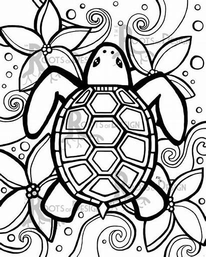 Coloring Pages Easy Adult Simple Colouring Turtle