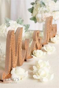 Rose Gold Decor : rose gold glitter mr and mrs letters wedding decorations table signs mr mrs table decor ~ Teatrodelosmanantiales.com Idées de Décoration