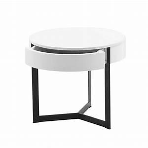 Table De Chevet Verre : table de nuit ronde en blanc ou en gris ~ Teatrodelosmanantiales.com Idées de Décoration