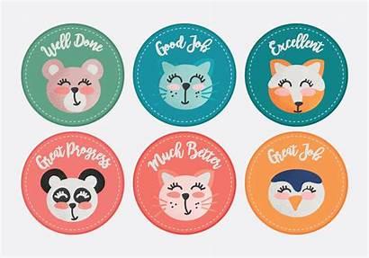 Stickers Reward Teacher Animals Vector Clipart System