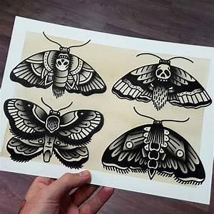 """""""Flash by: --- @rubenwayne, traditional tattoo flash, moth ..."""