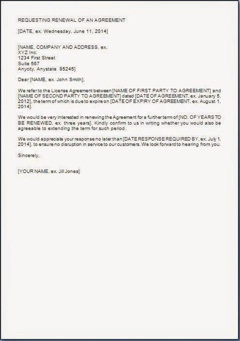 agreement renewal request letter