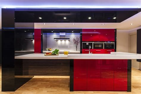 color scheme idea  red black  white kitchen designs