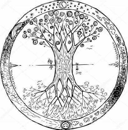 Tree Vector Yggdrasil Illustration Mandala Depositphotos