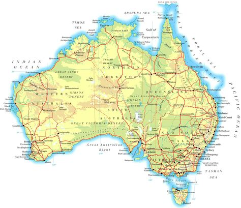 large physical map  australia  roads  cities