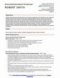 Model Resume Format For Experience Assistant Professor Resume Samples Qwikresume