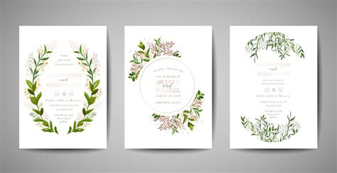 Set Of Wedding Invitation Floral Invite Thank You Rsvp