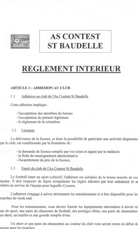 reglement interieur du club club football as contest st baudelle footeo