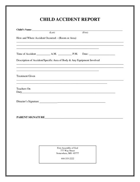incident report form child care child accident report