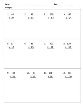 multiply and divide whole numbers warm ups or worksheet by
