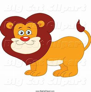 Big Cat Vector Clipart of a Happy Smiling Male Lion by ...