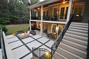 Concrete, Squares, And, Slate, Chips, Patio, With, Custom, Fire, Pit