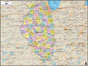 Illinois Map with Counties