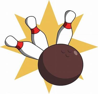 Bowling Clipart Ball Pins Vector Clip Hitting