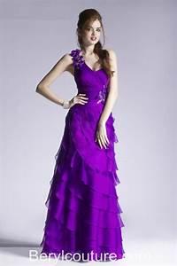Sheath One Shoulder Strap Tiered Purple Chiffon Ruffle ...