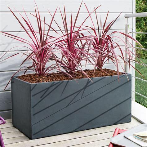 plantes pour bacs exterieurs bac 224 fleurs fibre de terre clayfibre l100 h45 cm anthracite plantes et jardins