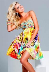 robe de cocktail courte charlotte tissus imprime satin colore With robe coloré