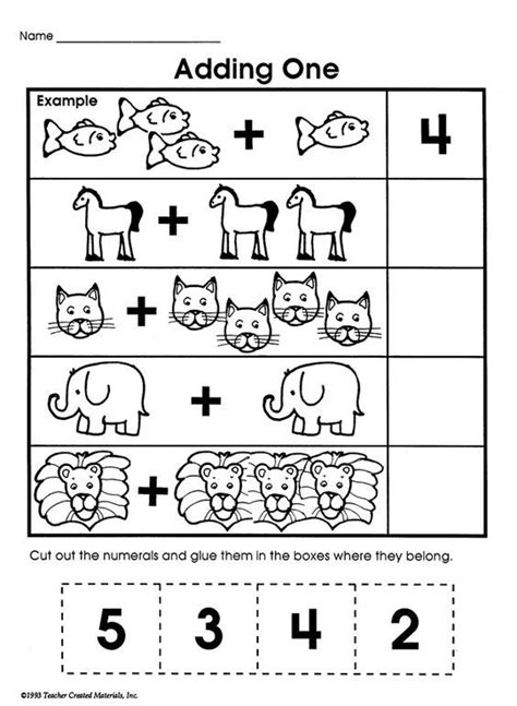 adding one printable addition worksheet for math
