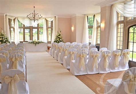 Champagne White Wedding Drapes And Ivory Aisle Runner
