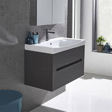 Roper Vanity Unit by Roper Diverge Charcoal Elm 800mm Wall Mounted Unit
