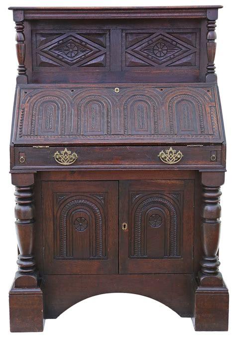 oak bureau desk georgian carved oak bureau desk writing table antiques atlas
