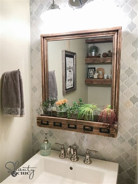 diy vanity mirror diy farmhouse storage mirror and tutorial