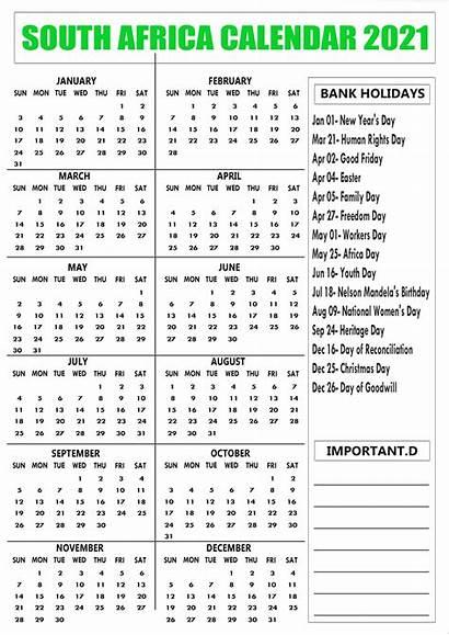 2021 Holidays South Africa Calendar Bank Printable